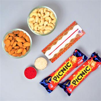 Bhaidooj gifts with dry fruits and chocolates