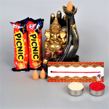 Traditional Bhaidooj Thread, Ganesha Back-flow Incense Burner and Picnic Chocolates
