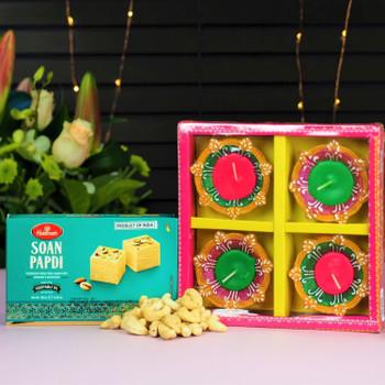 Diwali Diyas, sweet and Cashwes nuts - FOR AUSTRALIA
