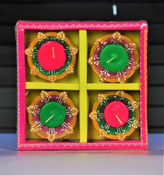 Decorated Traditional Wax Diya set  - FOR AUSTRALIA