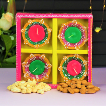 Decorated Traditional Wax Diya set with Nuts  - FOR AUSTRALIA