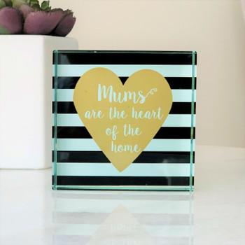 Mum's Heart Brown Glass Frame