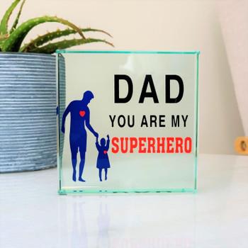 Dad Superhero Glass Frame