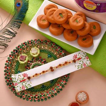 Rakhi with Kesar Peda and Thali - For India