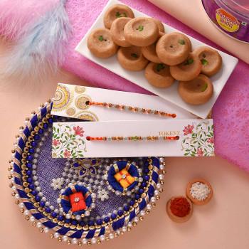 Set of 2 Rakhis with Mathura Peda and Thali - For India