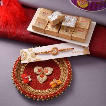 Rakhi with Mewa Bites and Thali - For India