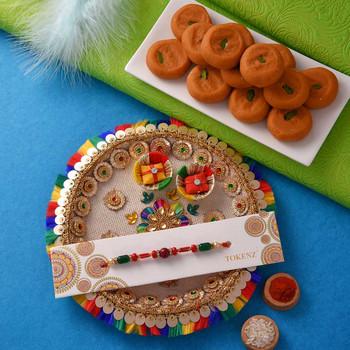 Single  Rakhi with Kesar Peda and Thali - For India