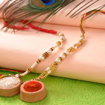 Set of Two Rakhis with Mathura Peda - For India