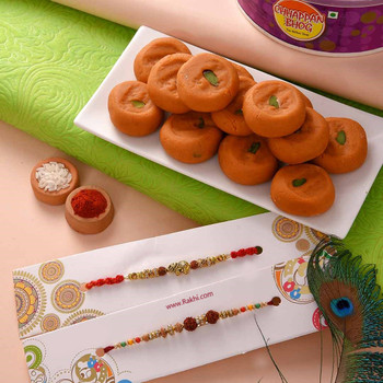 Set of Two Rakhis with Kesar Peda - For India