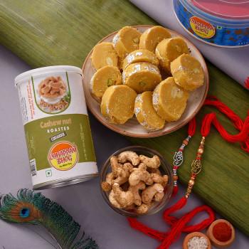 Set of 2 Rakhis with Batisa and Dryfruits