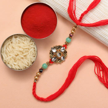 Kundan Rakhi is the oldest art of making beautiful and traditional Rakhi and its is always praised by everyone since long time because traditions never fade off.