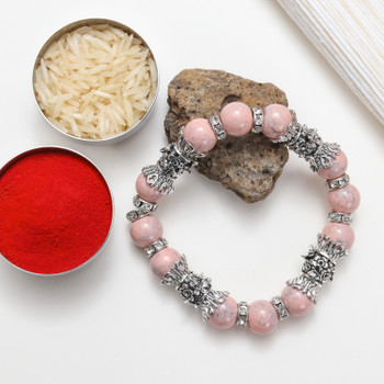 Beautiful Pink Stone Bracelet designed with oxidized metal beads.  An idle gift for Bhabhi, Sister or some one special.