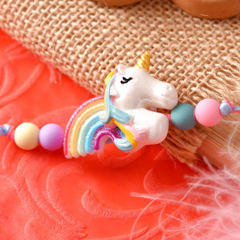 Rainbow Unicorn Kids Cartoon Rakhi - For India