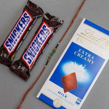 Beads Rakhi with Pack of Snickers & Lindt Chocolates