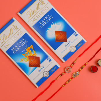 Set of 2 Rakhis with Pack of Lindt Chocolates