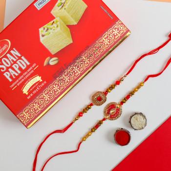 Set of 2 Designer Rakhis with Soan Papdi