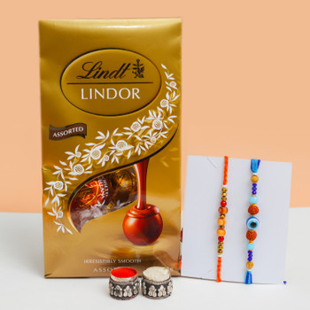 Set of 2 Classic Rakhis with Assorted Lindt Chocolate