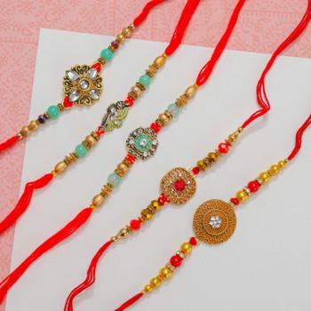 Kundan Designer Set of 5 Rakhis