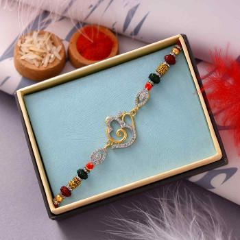 Stone & Rudraksh Embellished Fancy Om Rakhi - For India
