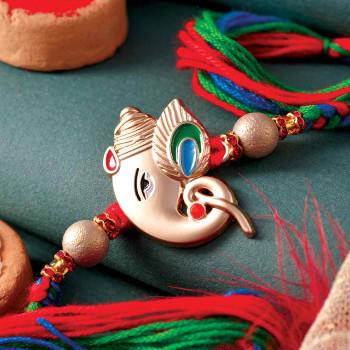 Embelished Ganesha Rakhi - For India