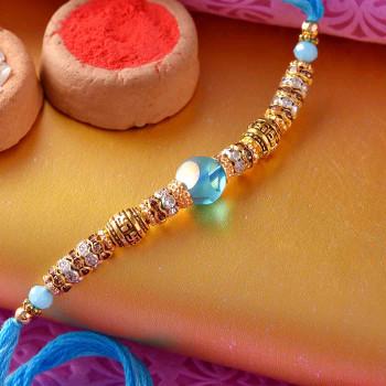 Blue Crystals Pearl Rakhi - For India