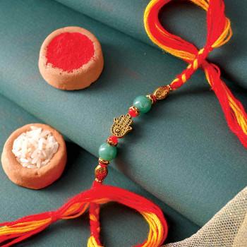 Metallic Finish Pearl Rakhi - For India