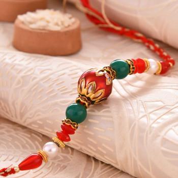 Alluring Metallic Finish Pearl Rakhi - For India