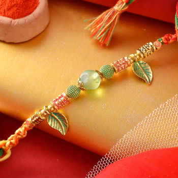 Shades of Green Leaf Pearl Rakhi - For India
