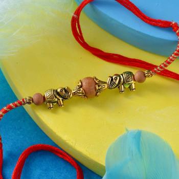 Two Elephants Metal Beads Rakhi