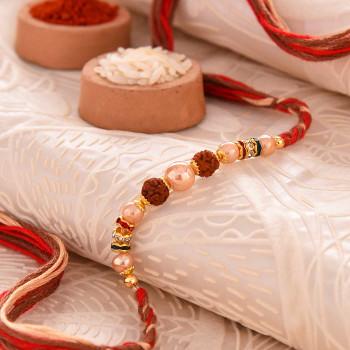 Beautiful Pearl Rudraksh Rakhi - For India