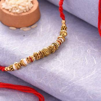 Oxidized Finish Pearl Rakhi - For India
