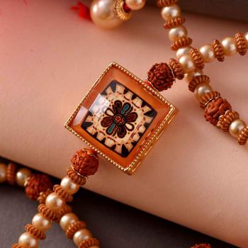 Flower Enamelled Pearl & Beads Rudraksh Rakhi - For India