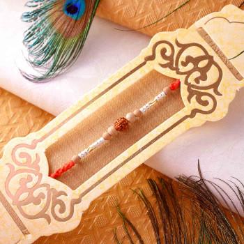 Designer Rudraksh & Sandalwood Beads Rakhi - For India