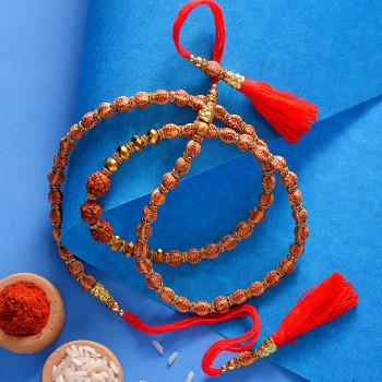 Traditional Rudraksh & Crystal Stones Rakhi - For India