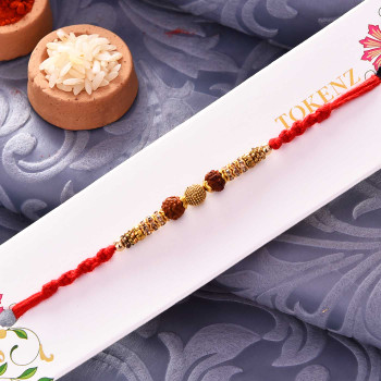 Designer Golden Beads, Stone Embellished Rudraksh Rakhi - For India