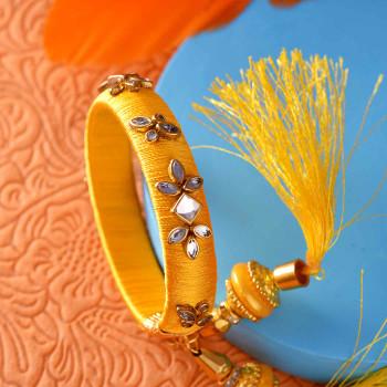 Yellow Kundan Designer Lumba Rakhi