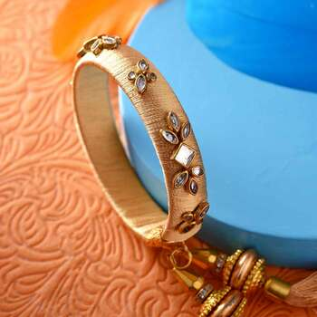 Golden Kundan Work Lumba Rakhi
