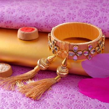 Golden Kundan Embroidered Lumba Rakhi