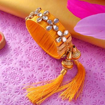Saffron Kundan Work Lumba Rakhi
