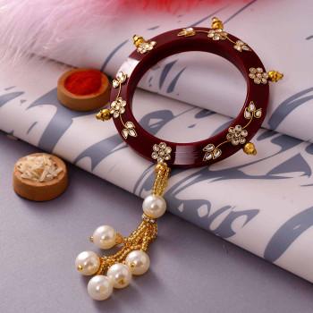 Elegant Kundan Work Pearls Lumba Rakhi