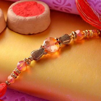 Elegant Metallic Beads Rakhi Thread