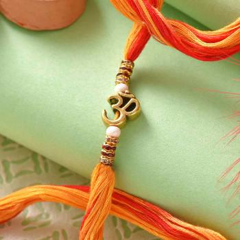 Ethnic Om & Stone Work Rakhi Thread