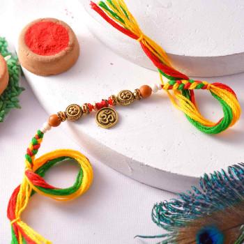Antique Finish Om Rakhi Thread