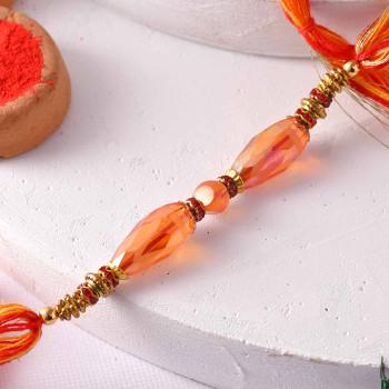 Premium Orange Beads Rakhi Thread