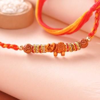 Traditional Elephant Om & Stone Work Rakhi Thread