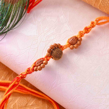 Antique And Sandalwood Beads Mauli Rakhi