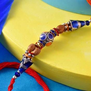 Wooden & Designer Blue Beads Rakhi