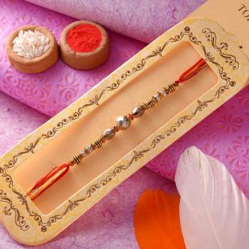 Dazzling Golden Beads Rakhi Thread - For India