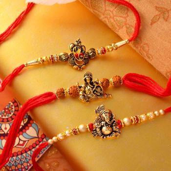 Set of 3 Antique Ganesha Rakhis - For India