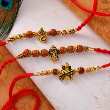 Set of 3 Antique Rudraksha Rakhis